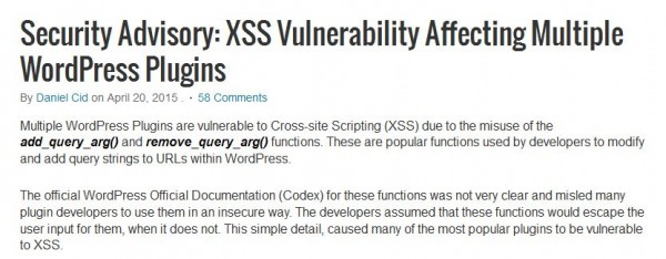 XSS Vulnerability WordPress Plugins